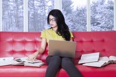 La ragazza con il computer portatile ed impara sul sofà Immagini Stock Libere da Diritti
