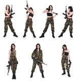 La ragazza con il fucile AK fotografia stock libera da diritti