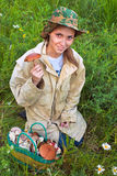 La ragazza con il fungo. Fotografia Stock Libera da Diritti
