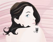 La ragazza con il tatoo Immagini Stock