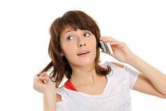 La ragazza con il telefono immagini stock libere da diritti