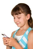 La ragazza con il telefono mobile immagini stock libere da diritti