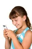 La ragazza con il telefono mobile immagini stock