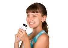 La ragazza con il telefono mobile fotografie stock libere da diritti