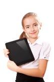 La ragazza con ipad gradice il dispositivo Fotografia Stock Libera da Diritti