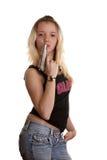 La ragazza con l'arma. Immagine Stock