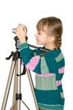 La ragazza con la macchina fotografica Fotografia Stock