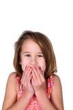La ragazza con lei cosegna la sua bocca Immagini Stock Libere da Diritti