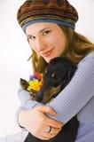 La ragazza con un cane Immagini Stock Libere da Diritti