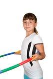 La ragazza con un cerchio relativo alla ginnastica fotografia stock libera da diritti