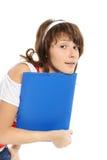 La ragazza con un dispositivo di piegatura fotografie stock