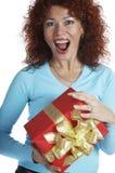 La ragazza con un regalo immagini stock