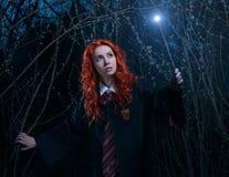 La ragazza con una bacchetta magica passa attraverso la foresta verso il demone fotografie stock