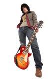 La ragazza con una chitarra Immagine Stock