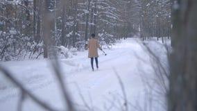 La ragazza con una rosa blu cammina attraverso la foresta video d archivio