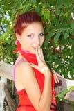 La ragazza con uno sguardo stupito Fotografie Stock Libere da Diritti