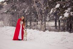 La ragazza in costume poco cappuccio di guida rosso con il cane gradisce un lupo fotografia stock libera da diritti