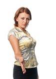 La ragazza dà una mano per la scossa della mano Immagine Stock Libera da Diritti