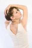 La ragazza da una parte posteriore Fotografie Stock