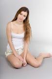 La ragazza dai capelli lunghi immagini stock libere da diritti