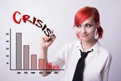 La ragazza dai capelli rossi traccia un grafico dell'indicatore immagini stock