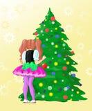 La ragazza decora l'albero del nuovo anno Immagini Stock Libere da Diritti