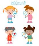 La ragazza dei bambini ha un piatto del segno rispondere a corretto o a sbagliato royalty illustrazione gratis