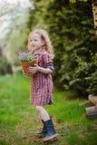 La ragazza del bello bambino con il canestro della campanula fiorisce nel giardino di primavera Fotografie Stock