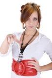 La ragazza del Chiamare-Centro ha indicato la barretta. Fotografia Stock Libera da Diritti