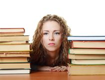 La ragazza dell'allievo si è stancata con studing Fotografie Stock