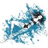 La ragazza dell'illustrazione del quadro televisivo di Digital nuota nell'acqua e blu oggetti isolati nel colore nero su fondo bi illustrazione di stock