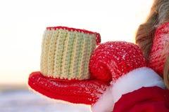 La ragazza dell'inverno nel rosso soffia nelle palme della neve nel sole caldo del tramonto fotografia stock libera da diritti
