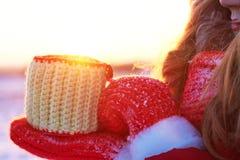 La ragazza dell'inverno nel rosso soffia nelle palme della neve nel sole caldo del tramonto Immagini Stock Libere da Diritti