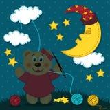 La ragazza dell'orso ricama il cielo notturno Fotografia Stock
