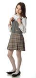 La ragazza della ciliegia in un uniforme scolastico Fotografia Stock
