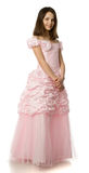 La ragazza della ciliegia in un vestito dalla rosa Fotografia Stock