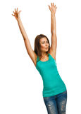 La ragazza della donna ha sollevato le sue mani sulla gioia felice isolate Fotografie Stock Libere da Diritti