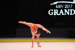 La ragazza della ginnasta esegue alla concorrenza della ginnastica ritmica Immagini Stock Libere da Diritti