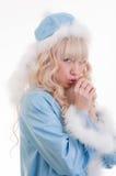 La ragazza della neve in cappotto di pelliccia blu, riscalda le mani Immagini Stock