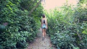 La ragazza della parte cammina lungo il percorso di pietra attraverso i boschetti video d archivio