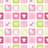 La ragazza delle icone del bambino del modello quadra il rosa e verde senza cuciture illustrazione vettoriale
