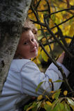 la ragazza di autunno lascia piccolo Fotografia Stock Libera da Diritti