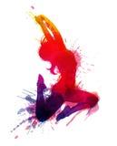 La ragazza di dancing con grungy spruzza Fotografie Stock Libere da Diritti