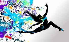 La ragazza di dancing in luminoso schizza Fotografie Stock Libere da Diritti