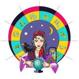 La ragazza di oracolo predice il futuro su un illus magico di vettore della palla illustrazione vettoriale
