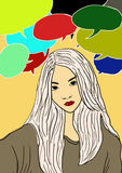 La ragazza di pensiero parla il 'brainstorming' digitale della pittura di ilustration di colore di espressione Fotografia Stock