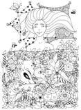 La ragazza di Zen Tangle dell'illustrazione di vettore con le lentiggini dorme sotto i fiori illustrazione vettoriale