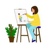 La ragazza disegna un'immagine L'artista crea un autoritratto Una giovane donna che si siede al cavalletto ed estrae un ritratto royalty illustrazione gratis