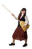La ragazza divertente con la scopa isolata su bianco Fotografia Stock Libera da Diritti