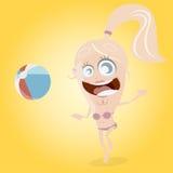 La ragazza divertente del fumetto sta giocando il beach ball Fotografie Stock